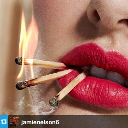 #Repost from @jamienelson6 Fun #playingwithfire and makeup!  Shoot with @lotstar #makeupartist #jamienelson #prym #fire #lovemyjob #matchstick #pinklipstick #flame #hotlips #prymnotproper #corallips